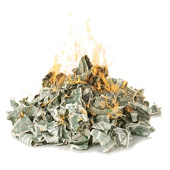 brennendes geld symbol